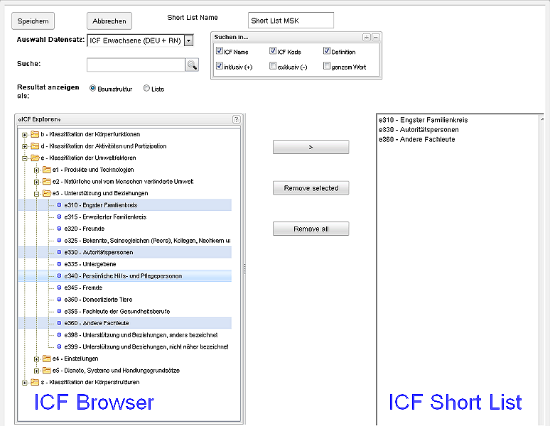 ICF Short List Manager von RehabNET